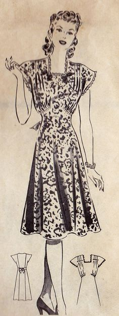 1940s Plus Size Dress Vintage Sewing Pattern - Isn't this just dreamy?
