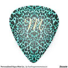 Personalized Aqua Mint Leopard Animal Guitar Pick
