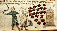 Bees flying to Hive, man with sickle and woman. English c.1300.