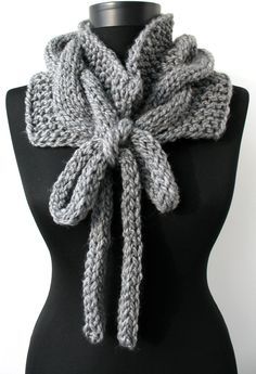 OFF SALE -Handknit super chunky cabled neckwarmer - circle scarf - collar - cowl - wrap with long drawstrings -in vanilla white 1023 Irish Crochet Patterns, Crochet Designs, Knitting Patterns, Sewing Patterns, Knitted Shawls, Crochet Scarves, Crochet Shawl, Knit Crochet, Circle Scarf