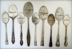 organize my garden?  with these vintage silver spoon plant markers.  who says dirt has to be ugly?