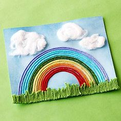 Capture that perfect summer sky and help your kids create their own brilliant rainbows with multicolor pieces of yarn.