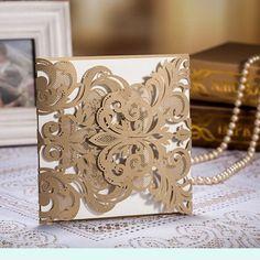 Champagne Gold Laser-cut Wedding Invitation | Vintage Wedding Cards