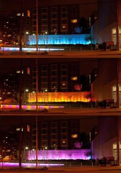 Sequential shots of Counterbalance Park at night, illustrating how the architects make use of programmable color.