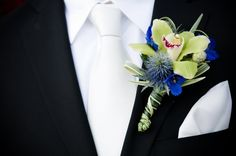 Orchid and Thistle Boutonniere - Beach Ceremony at The Sunset - Malibu, California - Photography: www.KristaMason.com