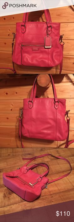 "Coach F23901 Daisy Leather MIA SV/CORAL Handbag Used Daisy Leather MIA, with inside zip pocket (couple small stains) cell phone and multifunction pockets, Zip top closure, fabric lining, outside zip pocket, Handles with 9"" drop, Longer strap for shoulder or crossbody wear, Silver/Coral ,  12 1/4"" (L) x 10 3/4"" (W) x 4"" (W) Coach Bags Shoulder Bags"
