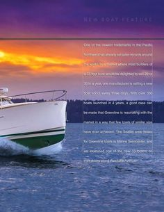 The Greenline 33 review in the current issue of Pacific Nor'West Boating starts on page 16. Boating, Around The Worlds, Day, Things To Sell, Ships, Sailing, Rowing