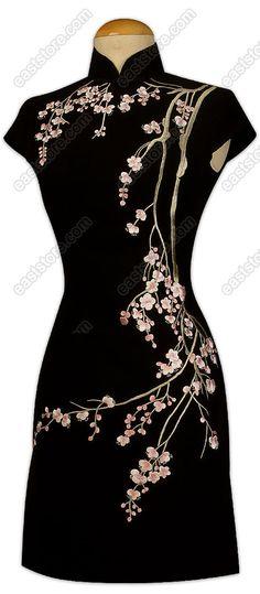Cute Plum Blossom Embroidered Silk Cheongsam