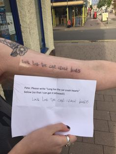 "Fall Out Boy fan tattoo in Pete's handwriting. ""Long live the car crash hearts"" from Thriller on the Album Infinity on High. Pete Wentz."