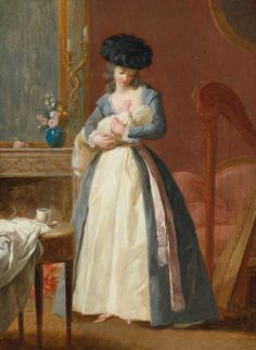 """"""" A Lady, said to be Madame Danloux, nursing her Child in a Drawing Room François-Guillaume Ménageot (French, Oil on panel. Madame Danloux, wife of the portrait. Breastfeeding Art, Art Ancien, 18th Century Costume, Madonna And Child, A4 Poster, Vintage Artwork, Old Master, New Art, Renaissance"""