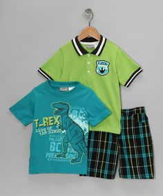 Love this Green T-Rex Polo Set - Infant & Toddler on #zulily! #zulilyfinds