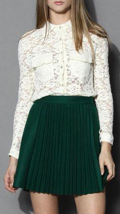 Creamy Flap Pockets Lace Shirt