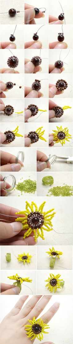 Instructions on Making Memory Wire Ring with a Seed Bead Sunflower from  LC.Pandahall.com       #pandahall