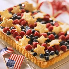 {Patriotic Pie} sugar cookie dough, fresh fruits, and lemon-cream filling.