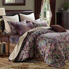 MAXIMIZE YFP-113 3-Piece Bedding Duvet Cover Set 100% Cotton Printed Paisley Floral Pattern Breathable Soft & Durable - Wrinkle Fade & Stain Resistant Queen