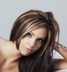 Dark Brown Hair With Highlights Underneath in Hairstyles