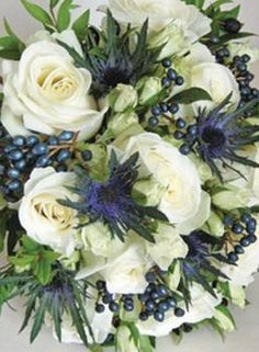 very natural bouquet that incorporated English roses and Scottish thistles. Large headed roses were combined with spray roses, the blue Eryngium, myrtle and viburnum tinus berries Red Bouquet Wedding, Blue Wedding Flowers, Bride Bouquets, Bridal Flowers, Floral Wedding, White Flowers, Black Roses, Flower Bouquets, Silk Flowers