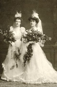 Two ladies in court gown. Early 1900s.