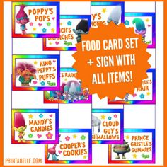 PDF FILES EMAILED TO YOU WITHIN 24 HOURS! The cards are sized at four cards to a standard sized (8 1/2 x 11 inches) page. Trolls themed food cards! This food card set has 18 different food cards. The food cards are: Poppy's Pops, Branch's Branches, Cooper's Cookies, Satin & Chenille's Hair, Guy's Diamonds, Cloud Guy's Marshmallows, Mandy's Candies, Moxie's Dewdrops, Biggie's Bugs, Wims, Fuzzberts, King Peppy's Puffs, Creek's Crackers, Smid...