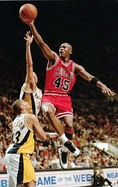 After retiring from the NBA in the 1993 Finals, Jordan un-retired & played his first game in almost 2 years => The Comeback wearing #45