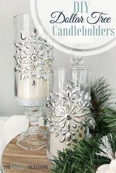 Make these elegant candleholders with items from the Dollar Tree crafts diy dollar tree Dollar Tree Christmas Candleholders - The Latina Next Door Silver Candle Holders, Christmas Candle Holders, Christmas Candles, Christmas Centerpieces, Xmas Decorations, Dollar Tree Centerpieces, Winter Wonderland Centerpieces, Centrepieces, Handmade Decorations