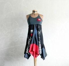 Summer Hippie Dress Black Boho Sundress by BrokenGhostClothing