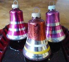Vintage Glass Bell Ornaments Shiny Brite Red Pink and Silver