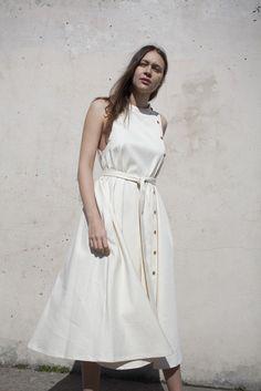 Luisa et la Luna Paloma Dress in White Denim | Oroboro Store | Brooklyn, New York