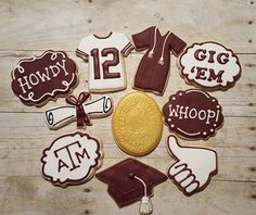 Aggie Graduation Cookies --  I am a licensed crafter for Texas A&M University. https://www.facebook.com/sweetcharleyconfections