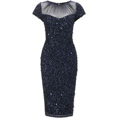 Adrianna Papell Short Beaded Sheer Neck Dress, Navy (€265) found on Polyvore