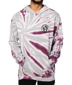 A purple and grey tie dye design and a tagless fleece lining for comfort and Honey Brand Co swarm logo graphics.