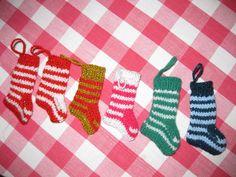 """Christmas mini Elf Stockings. $2.50, via Etsy. 2 1/2"""" long."""