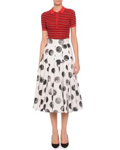 -5RXG Dolce & Gabbana Striped Ribbed Polo Shirt & Painted Polka Dot Full Skirt
