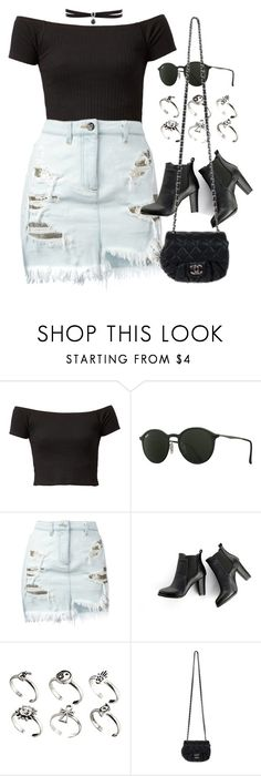 """Sin título #12439"" by vany-alvarado ❤ liked on Polyvore featuring Ray-Ban, Versus, SWEET MANGO, ASOS, Chanel and Fallon"
