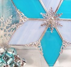 Light Blue and Turquoise Christmas Tree Topper by MoreThanColors, $48.50