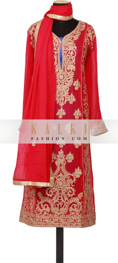 Buy Online from the link below. We ship worldwide (Free Shipping over US$100) http://www.kalkifashion.com/featuring-a-pink-georgette-straight-cut-semi-stitched-salwar-kameez-embellished-in-zari-and-kundan-only-on-kalki.html