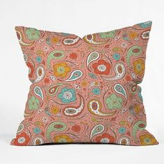 Fab: Adora Paisley Throw Pillow, $28... maybe for the porch or lanai (whatever it's called!).  Bring the green in from the couch pillows.
