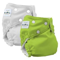 FuzziBunz Elite Reusable Diapers One Size (2 pack) - Apple Green/White