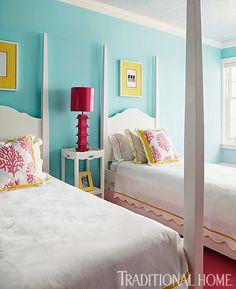 House of Turquoise: Elizabeth Schmidt Design de Interiores House Of Turquoise, Turquoise Walls, Pink Turquoise, Guest Bedrooms, Girls Bedroom, Bedroom Decor, Teen Bedrooms, Beautiful Bedrooms, Beautiful Homes