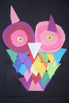 Construction Paper Owls made from just two shapes!