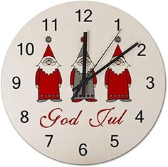 Amazon.com: God Jul Cute Funny Tomten Norwegian Christmas Round Wall Clock, Rustic Silent Clocks Farmhouse Cabin Country Home Decor Made in USA: Home & Kitchen