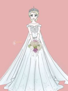 Elsa at her wedding. Nice dress, although it would have snowflakes not flowers!