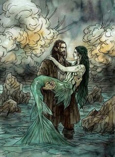 Illustration for author Emma Hamm, for her newest book Bride of the Sea. watercolors, ink
