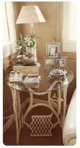 old sewing machine made into a table.