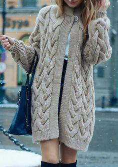 Sweater Coats, Sweater Outfits, Sweaters, Knit Skirt, Long Cardigan, Sewing Hacks, Knitting Patterns, Knit Crochet, Fur Coat