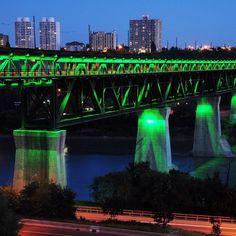 "photo: ""High Level Bridge in Edmonton is lit green to mark the end of Ramadan on July Photo by Bruce Edwards / Edmonton Journal Jackson Heights, July 28, Edwardian Fashion, Alberta Canada, High Level, Marina Bay Sands, Bridges, Ramadan, Travel Destinations"