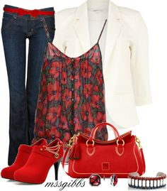 """Casual R/W/B"" by mssgibbs on Polyvore"