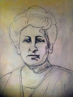 Eerste opzet van een schilderij van Aletta Jacobs. Houtskool op een ondergrond van acrylverf.