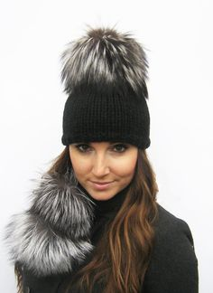 Luxurious Black Merino/Silk Hat and Scarf Set by KissKnitsKouture