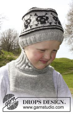 """Knitted DROPS hat with skull pattern and neck warmer in """"Lima"""". Size 3 - 12 years. ~ DROPS Design"""